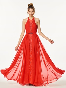 Stylish A Line Appliques Beading Backless Halter Floor Length Prom Dress