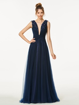 Modern A Line Appliques Beading Backless V Neck Floor Length Prom Dress