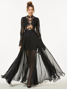 Chic A Line Appliques Button Long Sleeves Floor Length Prom Dress