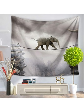 Elephant Across Single Log Bridge Gray Decorative Hanging Wall Tapestry