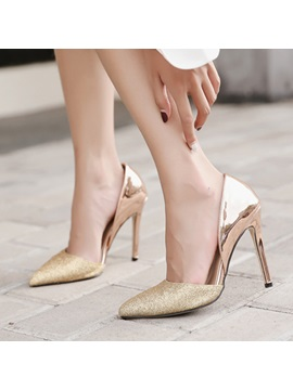 Pu Pointed Toe Patchwork Slip On Classic Pumps