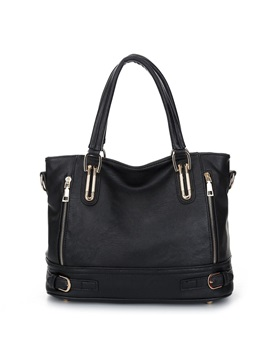 Casual Double Zipper Design Pu Satchel