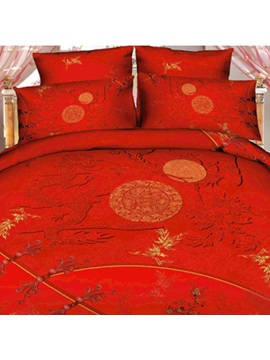 Wannaus Red Color Dragon And Moon Print 3d Duvet Cover Sets