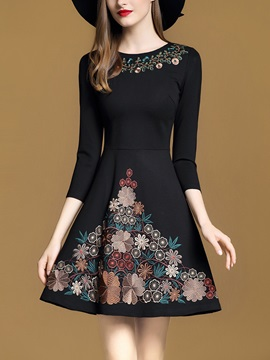 Fashion Round Neck Long Sleeve Womens Skater Dress