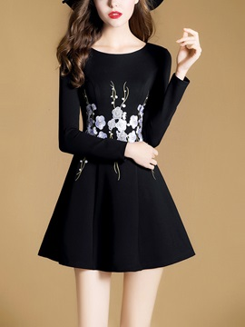 Black Round Neck Long Sleeve Womens Skater Dress