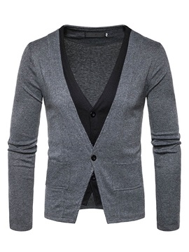 Fake Two Pieces Deep V Neck Mosaic Color Mens Sweater