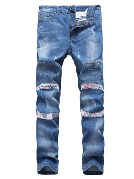 Folded Slim Elastic Straight Zipper Baggy Mens Jean