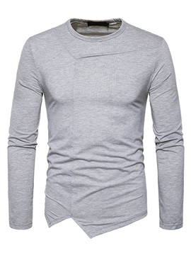 Solid Color Round Neck Hip Hop Long Sleeve Mens Tee