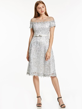 Scoop Neck Lace A Line Knee Length Cocktail Dress