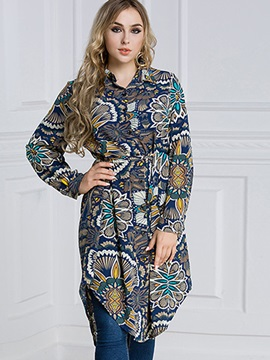 Plus Size Lapel Print Blouse