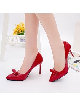 Pu Slip On Pointed Toe Stiletto Womens Pumps