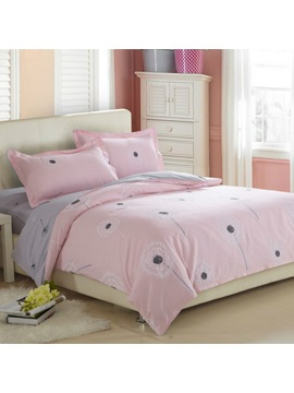 Wannaus Dandelion Pattern Cotton 4 Piece Full Size Pink Duvet Covers Bedding Sets