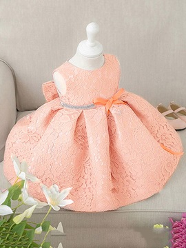 Elegant Lace Bowknot Sleeveless Baby Girls Dress