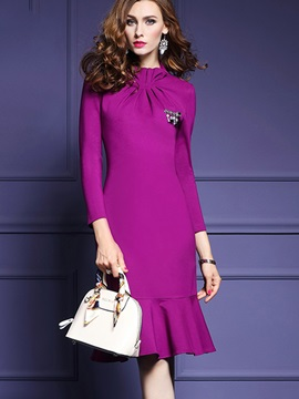 Chic Solid Color Long Sleeve Womens Knee Length Day Dress