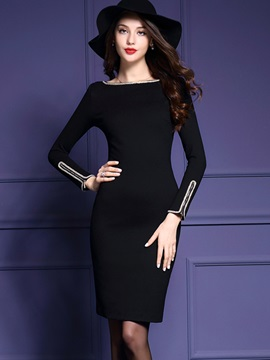 Best Round Neck Long Sleeve Womens Bodycon Dress