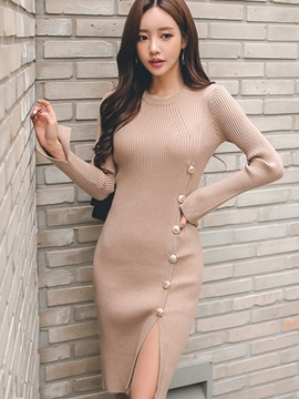 Multi Colored Round Neck Womens Bodycon Dress