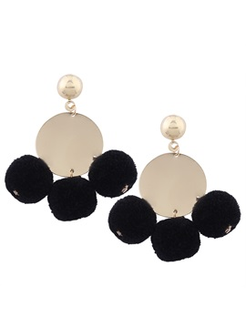 Gold Tone Polishing Alloy Round Sheet Colorful Pompons Balls Cute Korean Tassel Earrings