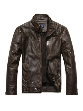 Solid Color Leather Stand Collar Slim Zipper Mens Jacket