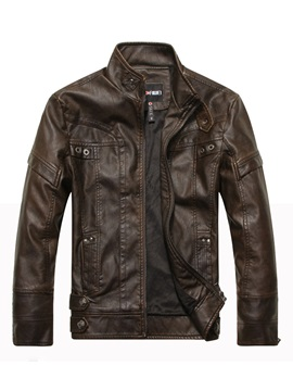 Pockets Leather Stand Collar Solid Color Slim Mens Jacket