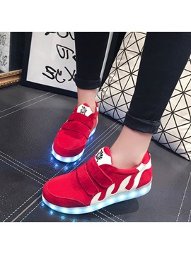 Faux Suede Velcro Patchwork Led Light Sneakers