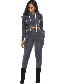Hooded Crop Top And Harem Pants Womens Sport 2 Piece Set