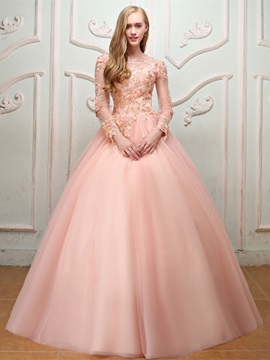 Nice Long Sleeves Ball Gown Appliques Beading Pearls Bateau Quinceanera Dress