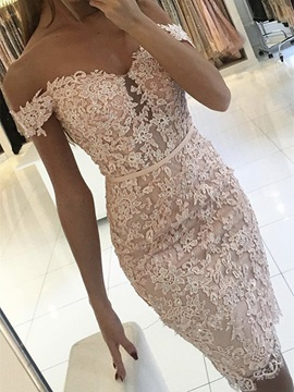Sheath Appliques Beading Button Lace Off The Shoulder Cocktail Dress 2019