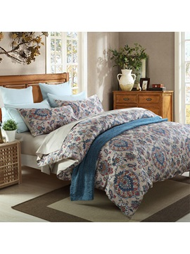 Wannaus Noble Jacquard Vintage Style Cotton 4 Piece Duvet Cover Sets