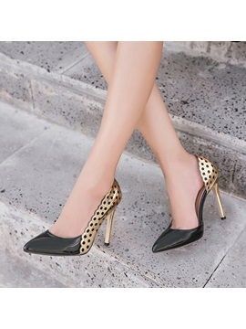 Pu Pointed Toe Color Block Stiletto Womens Pumps