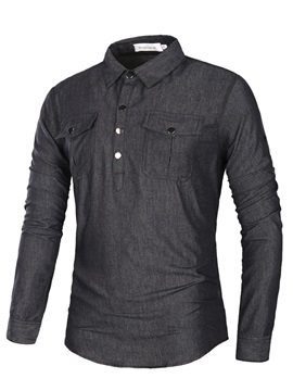 Solid Color Button Laoel Slim Long Sleeve Mens Casual Shirt