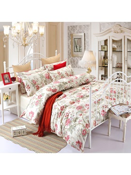 Wannaus Cozy Magnificent Begonia Print 4 Piece Duvet Cover Sets