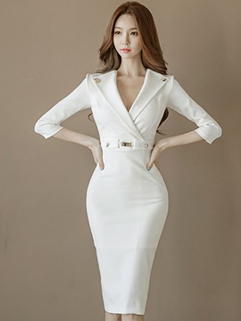 White V Neck Half Sleeve Bodycon Dress