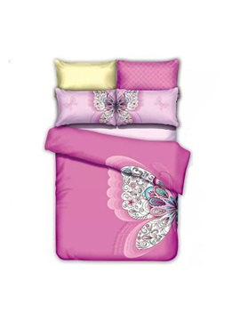 Wannaus Butterfly Print Pink Cotton 4 Piece Duvet Cover Sets