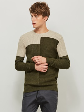 Color Block Round Neck Patchwork Mens Pullover Sweater