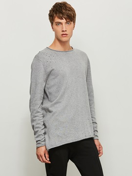 Round Neck Solid Color Loose Mens Sweater