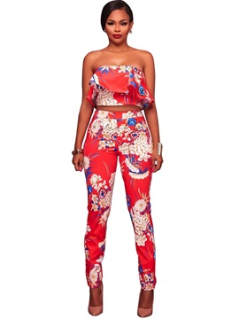 Off Shoulder Falbala Crop Top And Floral Printed Pants