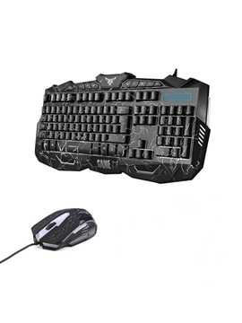 V100 15m Wired Keyboard Wired Mouse Combo With Led Light