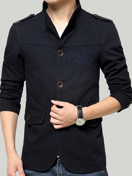 Stand Collar Solid Color Pockets Slim Long Sleeve Mens Jacket