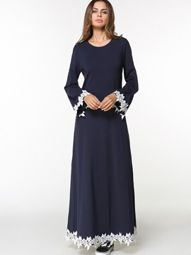 Vogue Round Neck Long Sleeve Womens Maxi Dress
