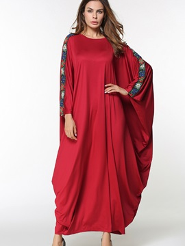 Red Round Neck Long Sleeve Dress