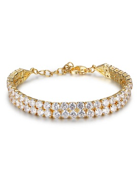 Markchic Double Layer Cubic Crystal Stone Gold Tone Alloy Simple Ol Bracelets Bangles
