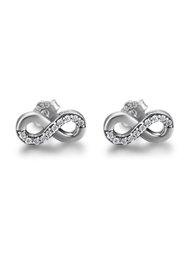 Markchic Eight Shaped Cross Diamante S925 Silver Stud Earrings