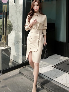Asymmetric Button Skirt And Stand Collar Jacket