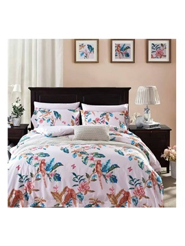 Wannaus Country Style Floral 4 Piece Print Cotton Bedding Set