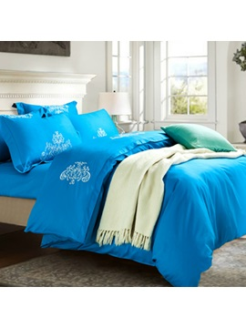 Wannaus Embroidery Cotton 4 Piece Duvet Cover Sets