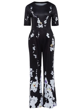 Floral Print Wide Legs Womens Jumpsuit