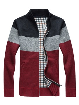 Mosaic Color Stand Collar Zipper Mens Sweater