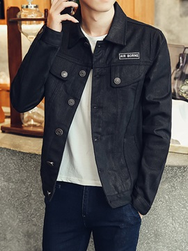 Single Breasted Solid Color Lapel Denim Long Sleeve Mens Jacket