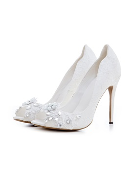 Lace Rhinestone Peep Toe Stiletto Womens Shoes