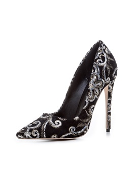 Faux Suede Slip On Sequin Embroidery Pointed Toe Pumps